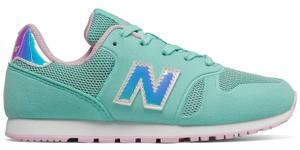 Miętowe buty sportowe dziecięce New Balance sznurowane