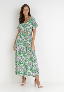 Zielona sukienka born2be z krótkim rękawem z dekoltem w kształcie litery v