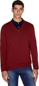 Czerwony sweter United Colors Of Benetton z wełny w stylu casual
