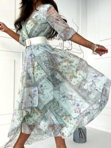 Miętowa sukienka Versada maxi z okrągłym dekoltem