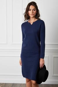Niebieska sukienka Joséfine midi w stylu casual z kaszmiru