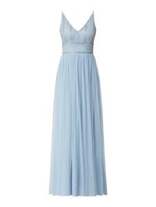 Niebieska sukienka Lace & Beads z dekoltem w kształcie litery v maxi na ramiączkach