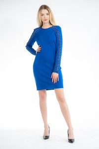 Niebieska sukienka Guess z długim rękawem mini