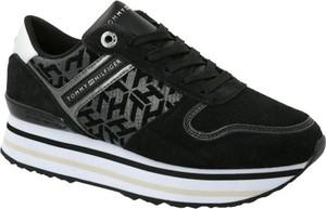 Czarne buty sportowe Tommy Hilfiger sznurowane ze skóry