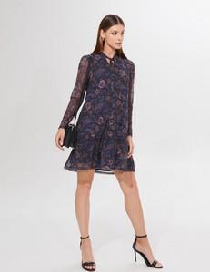 Granatowa sukienka Mohito z długim rękawem mini