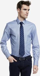 Niebieska koszula Lambert z długim rękawem z tkaniny