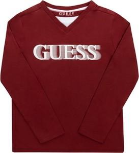 Czerwona bluzka dziecięca Guess z długim rękawem