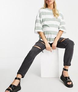 Topshop Maternity – Czarne mom jeans z pasem pod brzuch, rozdarciami i efektem sprania-Black