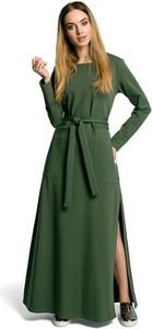 Zielona sukienka MOE maxi z okrągłym dekoltem