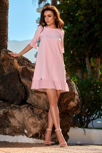 Różowa sukienka Lemoniade trapezowa z dekoltem w łódkę z krótkim rękawem
