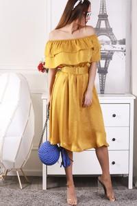 Żółta sukienka Ivet.pl midi w stylu casual