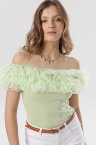 Zielona bluzka born2be hiszpanka w stylu casual