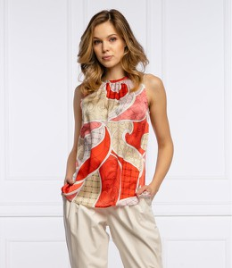 Bluzka Marella z okrągłym dekoltem z nadrukiem bez rękawów