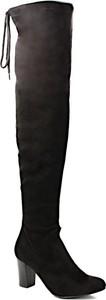 Kozaki Caprice na słupku za kolano w stylu klasycznym