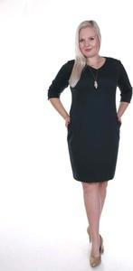 Sukienka Fokus w stylu klasycznym z długim rękawem z bawełny