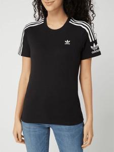 Czarna bluzka Adidas Originals z bawełny w sportowym stylu z okrągłym dekoltem