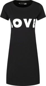 Czarna sukienka Love Moschino z okrągłym dekoltem w stylu casual mini