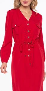 Czerwona sukienka POTIS & VERSO z długim rękawem
