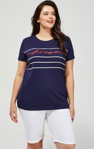 T-shirt Moodo z bawełny z okrągłym dekoltem w stylu casual