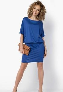 Niebieska sukienka Meleksima z okrągłym dekoltem mini
