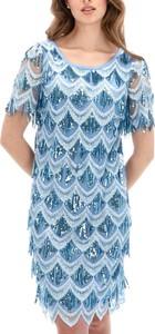 Niebieska sukienka L'AF z krótkim rękawem w stylu boho z okrągłym dekoltem