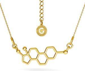 GIORRE SREBRNY NASZYJNIK ESTROGEN, WZÓR CHEMICZNY 925 : Kolor pokrycia srebra - Pokrycie Żółtym 24K Złotem