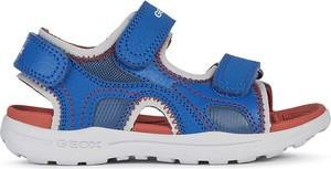 Niebieskie buty dziecięce letnie Geox ze skóry dla chłopców na rzepy