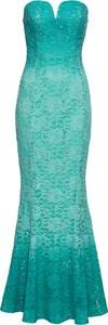 Turkusowa sukienka bonprix BODYFLIRT boutique gorsetowa w stylu glamour bez rękawów