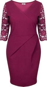 Sukienka KARKO z długim rękawem z dekoltem w kształcie litery v ołówkowa