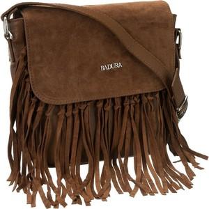 Brązowa torebka Badura średnia z frędzlami na ramię