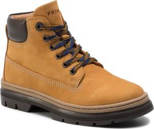 Żółte buty dziecięce zimowe Primigi sznurowane