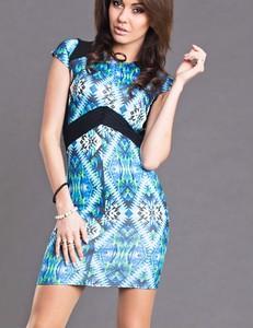 Sukienka Yournewstyle prosta z okrągłym dekoltem z krótkim rękawem