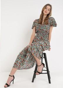 Sukienka born2be midi z krótkim rękawem z dekoltem w kształcie litery v