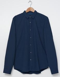 Granatowa koszula House w stylu casual z klasycznym kołnierzykiem