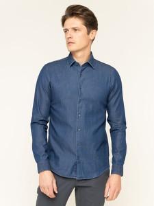 Niebieska koszula Calvin Klein z włoskim kołnierzykiem z długim rękawem