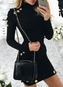 Czarna sukienka Sandbella z długim rękawem mini dopasowana
