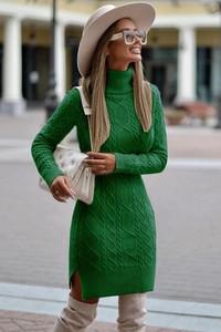 Zielona sukienka Ivet.pl z dzianiny z długim rękawem