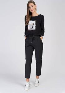 Czarna bluzka Cotton Club z okrągłym dekoltem z długim rękawem z bawełny