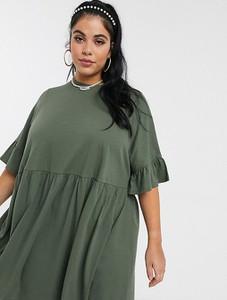 Zielona sukienka Asos oversize z długim rękawem