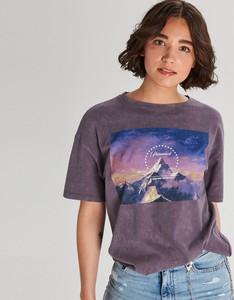Fioletowy t-shirt Cropp w młodzieżowym stylu z krótkim rękawem