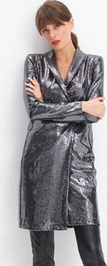 Srebrna sukienka Mohito z długim rękawem