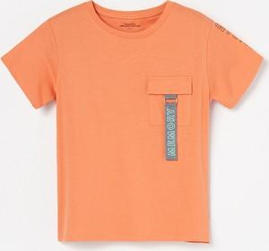 Pomarańczowa koszulka dziecięca Reserved z bawełny