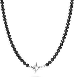 GIORRE Długi naszyjnik z pereł do podwieszania charmsów, srebro 925 : Kolor pokrycia srebra - Platyną, Perła - SWAROVSKI BLACK