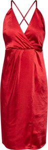 Czerwona sukienka Vila na ramiączkach z dekoltem w kształcie litery v kopertowa