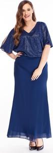 Niebieska sukienka N/A dla puszystych z dekoltem w kształcie litery v