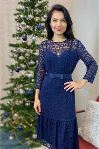 Niebieska sukienka Semper trapezowa z tkaniny