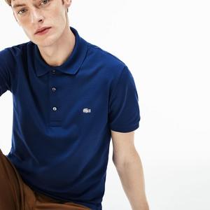 Niebieska koszulka polo Lacoste w stylu casual z krótkim rękawem