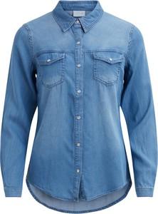 Niebieska koszula Vila z jeansu z kołnierzykiem w stylu casual