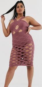 Różowa sukienka Katch Me Plus dopasowana bez rękawów mini