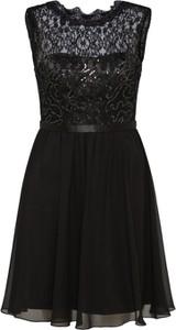Czarna sukienka Laona z okrągłym dekoltem mini